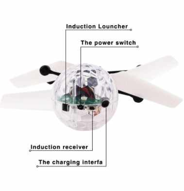 Colorful Mini Drone Shinning LED RC Drone Terbang Bola Helikopter Cahaya Bola Kristal Induksi Drone Quadcopter Pesawat Mainan Anak-anak