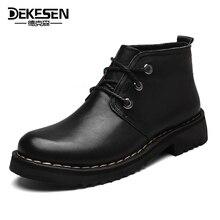 Dekesen размер 38-49 из кожи с натуральным лицевым покрытием Русский стиль ручной работы теплые меховые большие размеры Мужская зимняя обувь, снег Ботильоны для мужчин Обувь