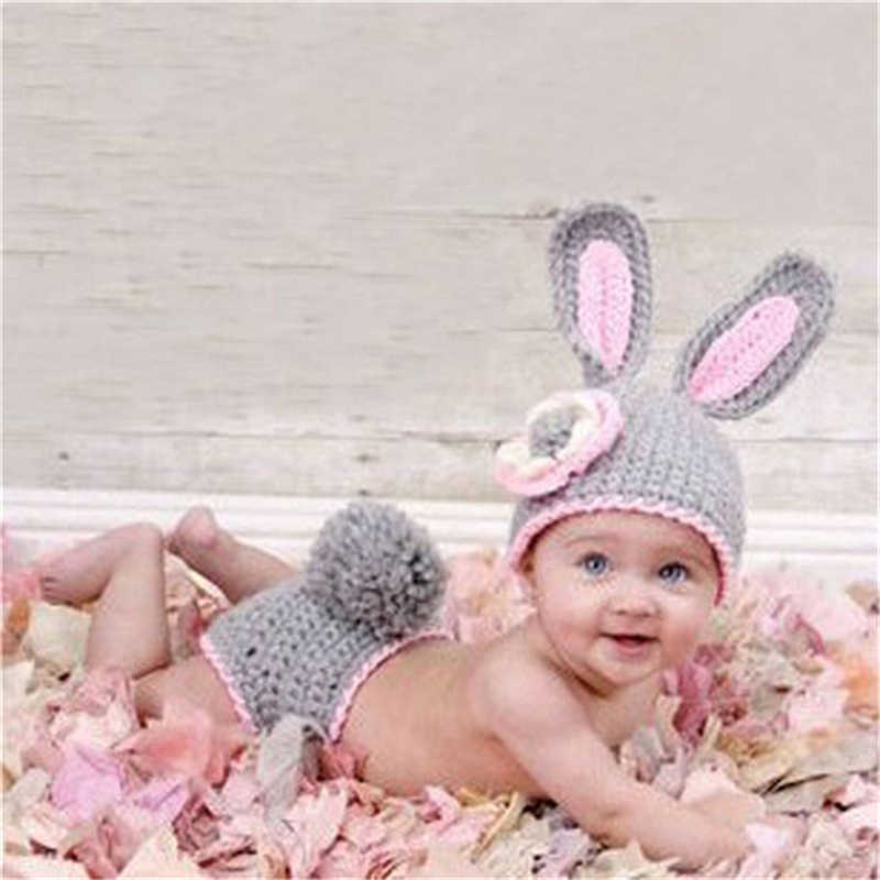 סריגה רך כובע מכנסיים סט תינוק בגדי אביזרי חמוד בעלי החיים Bebe יילוד צילום אבזרים בעבודת יד במסרגה תלבושות בנות