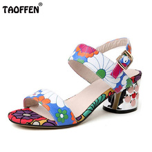 TAOFFEN Sweety Summer Shoes Women Real Leather Thick High Heel Open Toe Sandals  Women Buckle Strap 6fec1a9aef98