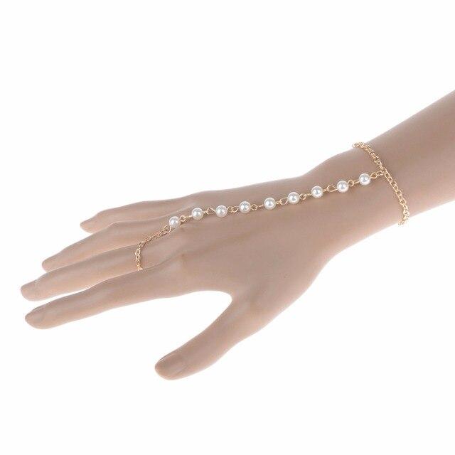 3afaea40fa43 PINKSEE perlas esclavo mano cadena pulsera joyería para las mujeres oro  Color círculo dedo esclavo cadena