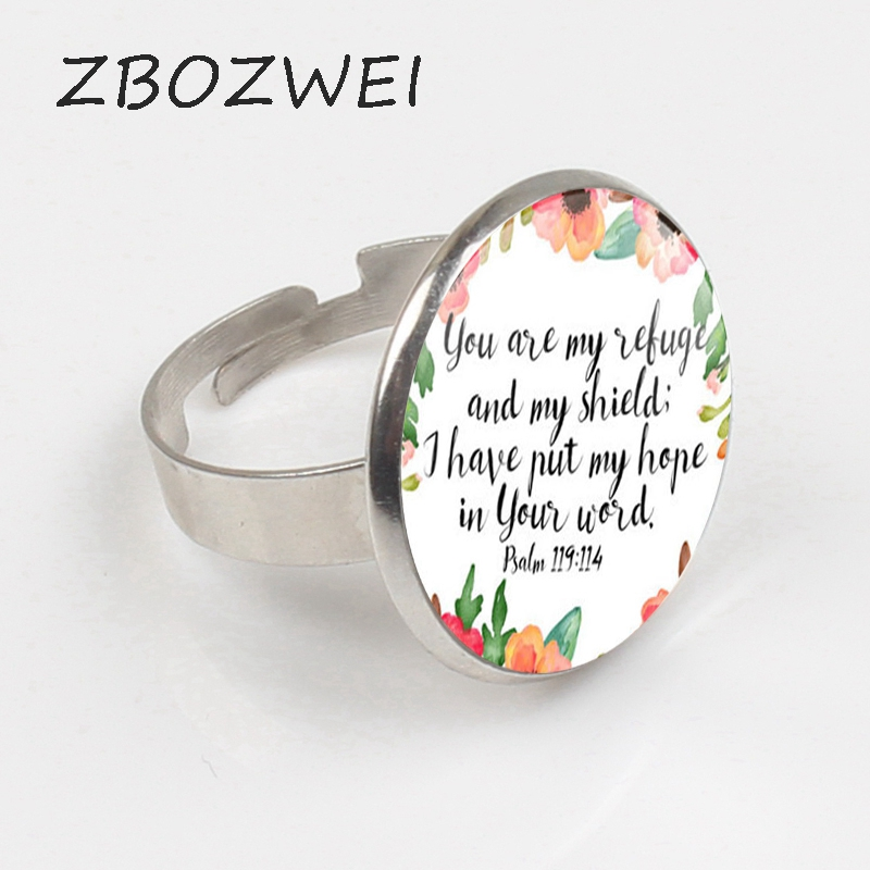 US $0 53 51% OFF|Psalm 119 114 Bible Verse Ring You are my Refuge and my  Shield I have put my Hope in Your Word Christian Quote Gifts Ring-in Rings