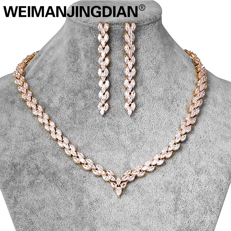 WEIMANJINGDIAN Brand Gold Color Cubic Zirconia Marquise CZ Crystal Necklace and Long Drop Earring Wedding Bridal Jewelry Set weimanjingdian brand sparkling cubic zirconia cz crystal zircon flower necklace and earring wedding bridal jewelry sets
