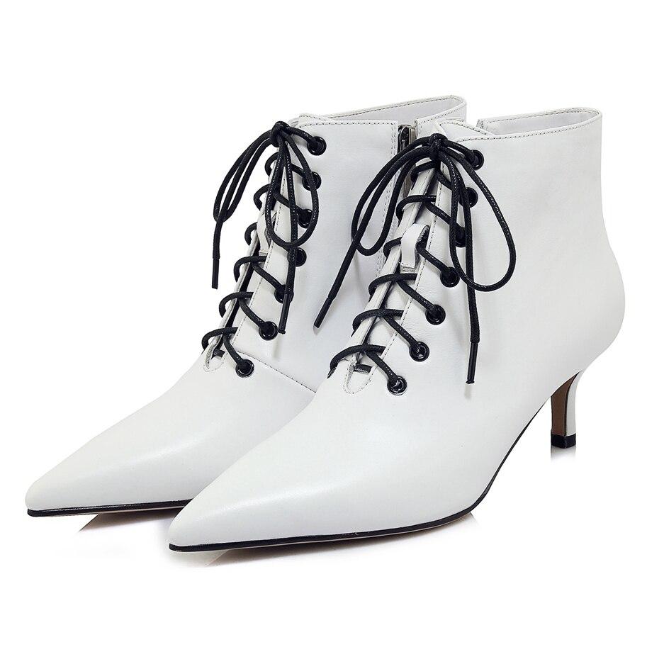 Bolso Invierno 34 Encaje Punta Cuero Zyl1845 Genuino De Zapatos 39 Mujer Tamaño Botas Black white Enmayer Tobillo Mujeres q1dwCx84q