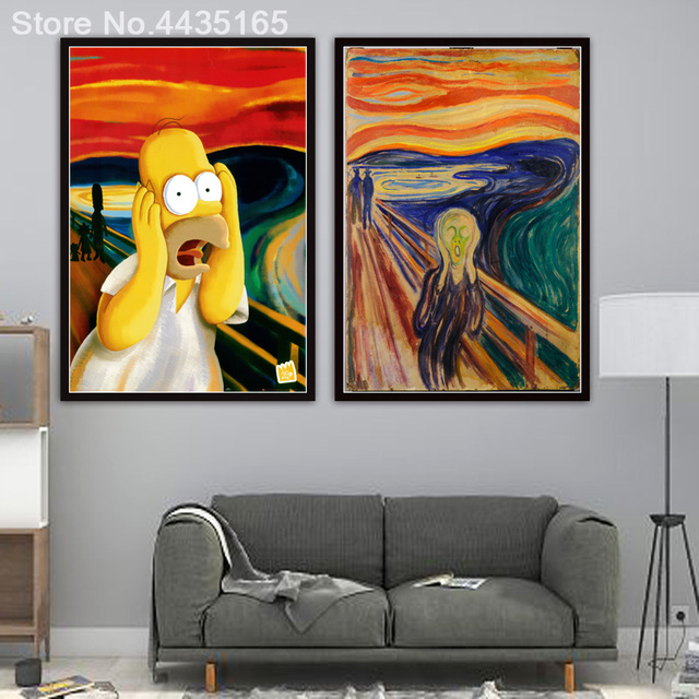 Screech Homer Simpson Scream Art Print Painting Poster Wall Pictures For Living Room Decoration Home Decor No Frame Decorative