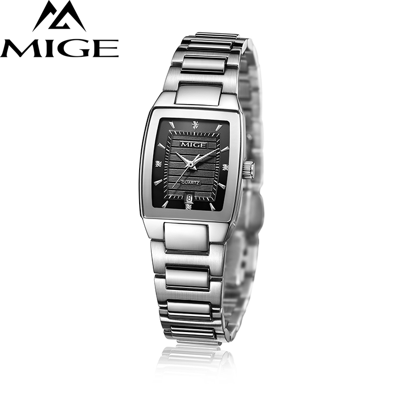Mige 2017 Topp Hot Sale Brand Ledies Klokke Stål Watchband Svart Hvit Rose Japan Kvarts Lover Watch Vannbestandig Dameklokker