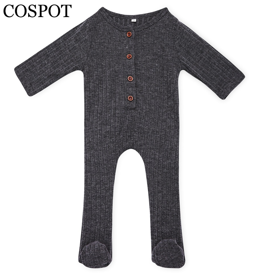 COSPOT Baby Boys Girls Romper Newborn Autumn Plain Black Red Pajamas Jumper Infant Baby Cotton Jumpsuit 2017 New Arrival 25F baby clothing summer infant newborn baby romper short sleeve girl boys jumpsuit new born baby clothes
