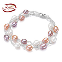 2016 SNH 7-8mm AAA rice shape mixed color women bracelet antique cultured pearl bracelet все цены