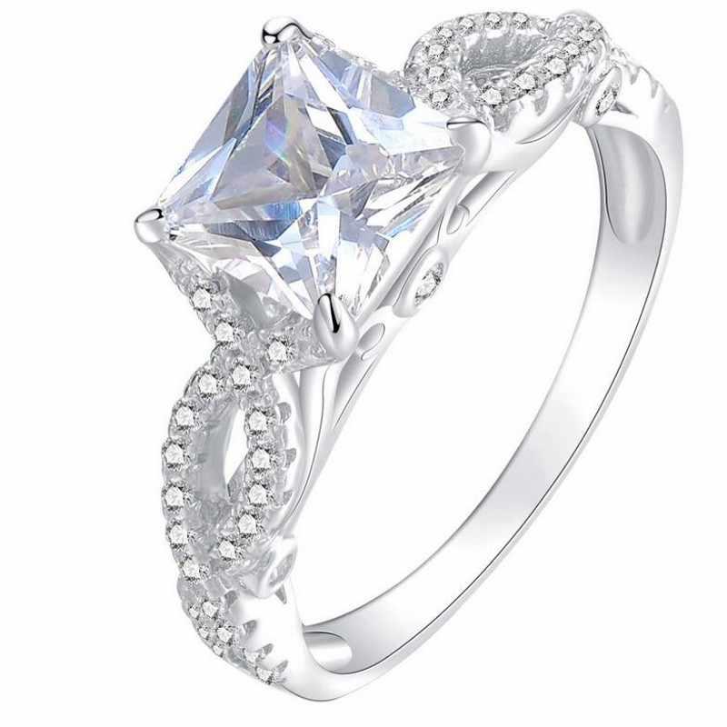 โรแมนติกโบราณหญิงแหวน AAAAA Square Zircon Cz 925 Anillos Silver หมั้นแหวนแต่งงานแหวนผู้ชายสำหรับผู้หญิง Size6-10