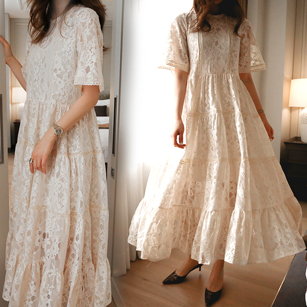 Pregnant Women Summer Lace Dress Suit Short Sleeve Fashion Fairy Maternity Dress With Cotton Lining Sweet Maxi Dress Wholesale