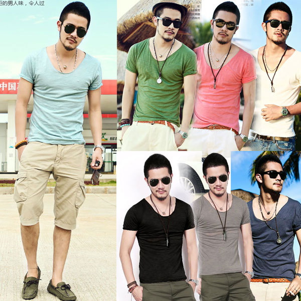 aaae4df64c3 M XXL Men s Exclusive Pretty Tops V Neck Shorts Sleeve T Shirts Stunning  Cut Off Border 2015 New Summer Style CH247-in T-Shirts from Men s Clothing  on ...