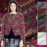 France Style Red Blue Green White Abstract Embossed Floral Metallic Jacquard Brocade Fabric For Dress Coat