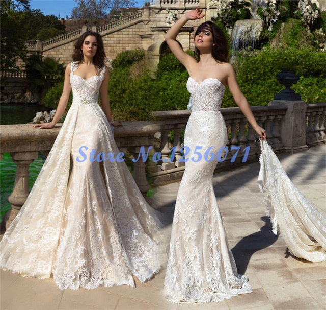 Fancy Lace Mermaid Wedding Dresses Wedding Dress 2017 Detachable Train vestido de noiva vestidos de novia robe de mariage Gowns