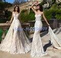 Fantasia Vestidos de Casamento Do Laço Da Sereia Do Vestido de Casamento 2017 Trem Destacável vestido de noiva vestidos de novia robe de mariage Vestidos