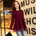 Europe Spring Autumn Top Fashion Lace stitching Women O-Neck Knitwear Coats Casual thicken Long Sleeve Loose Sweaters Pullover