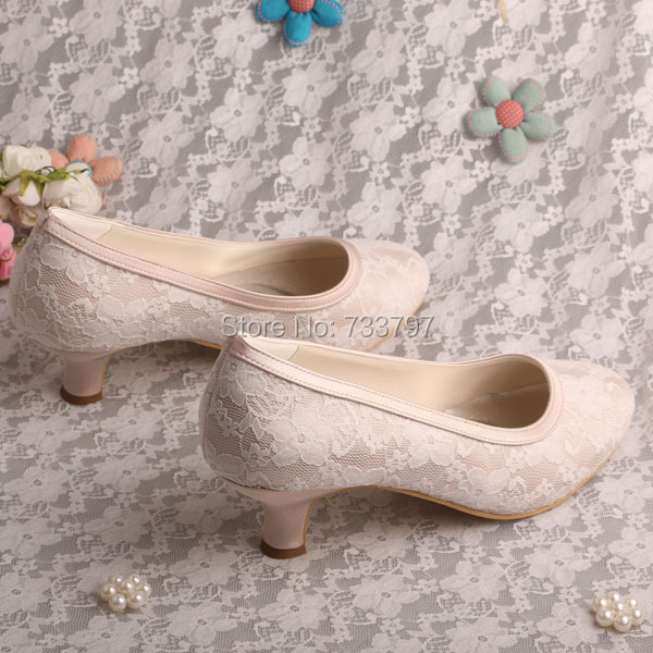 51c0d318efd9 Wedopus Sweet Women Wedding Pumps Nude Round Toe Low Heel Lace Prom Shoes  Wedding-in Women s Pumps from Shoes on Aliexpress.com