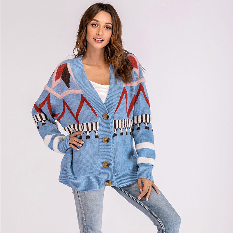 Autumn And Winter Christmas Sweater Women'S Sweater New Year  Long-Sleeved Printed Loose Sweaters Top knitted Cardigan Plus Size