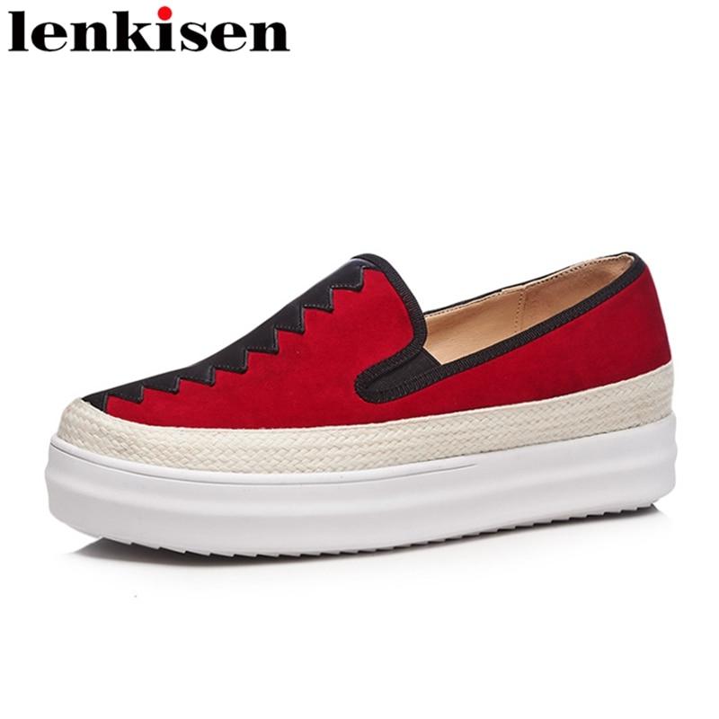 Lenkisen 2018 round toe slip on mixed colors platform causal shoes med heel handmade fashion runway women vulcanized shoes L69
