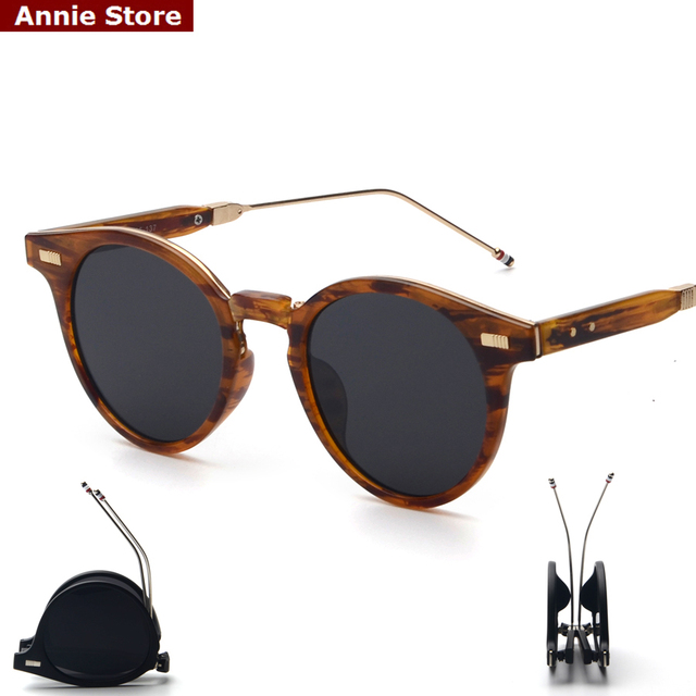 Peekaboo Designer brand round folding sunglasses men brown mirror women fashion shades 2017 foldable high quality sonnenbrille