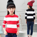 Autumn and winter sweater girl child stripe dress long-sleeved wool sweater teenage girl stripe cotton clothes