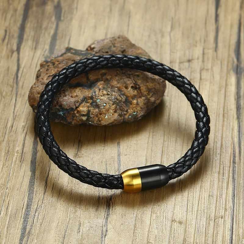 """Vnox pulsera trenzada de cuero genuino negro para hombres mujeres Cierre magnético de acero inoxidable Caballero Bijoux brazalete masculino 8,25"""""""