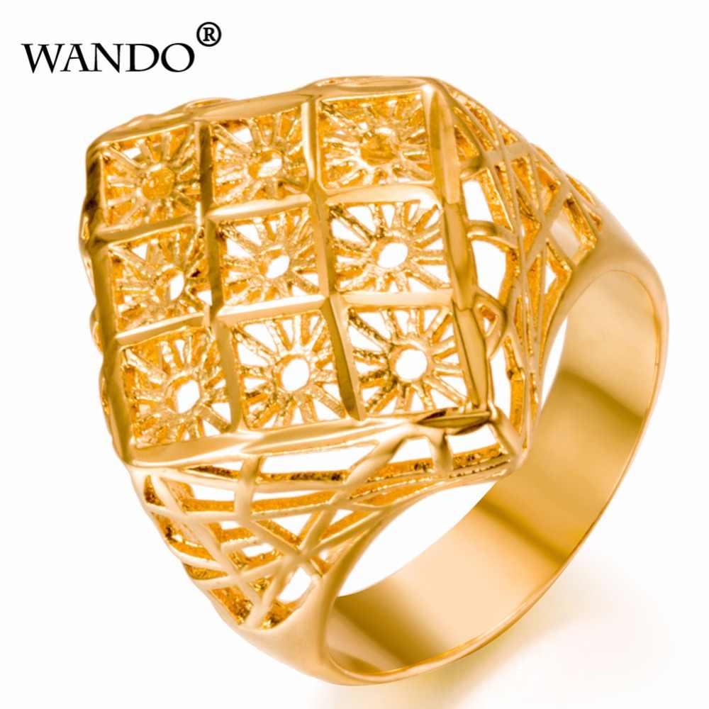 88cebb369b37 WANDO Dubai anillo de oro 24 K oro Color de los hombres de las mujeres  anillo