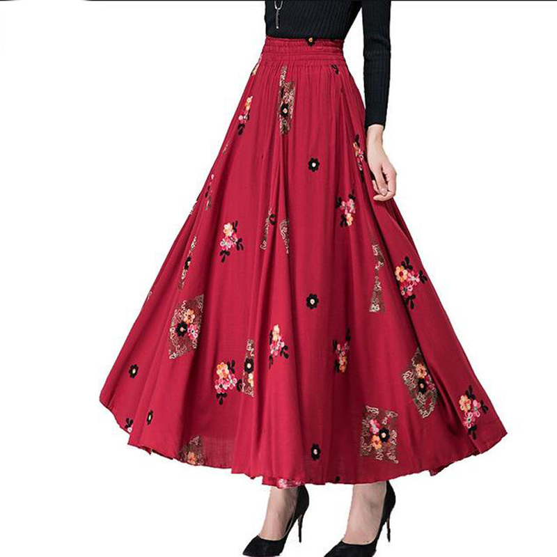 2018 Spring Women Embroidery Cotton Linen Skirt New Elastic Waist long Pleated Skirt Plus size Slim Large swing Skirt все цены