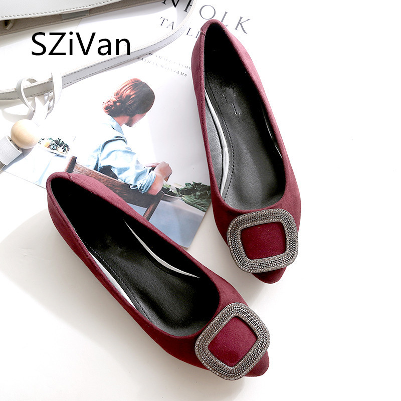 SZiVan Women Flats 2018 Spring New Women's Shoes Fashion Diamond Pointed Flat Shoes Shallow Mouth Suede Ladies Sexy Shoe lin king fashion pearl pointed toe women flats shoes new arrive flock casual ladies shoes comfortable shallow mouth single shoes