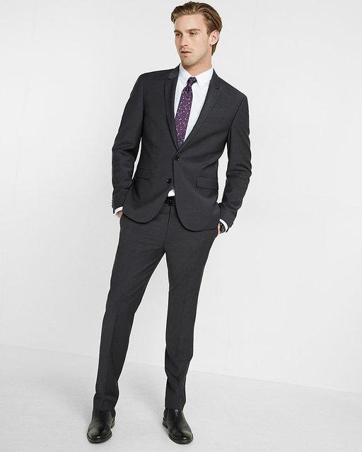 Men\'s Fashion Charcoal Suits Men Slim Fit Formal Groom Prom Dress ...