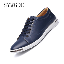 SYWGDC Men Leather Casual Shoes Lace-up Microfiber Leisure Luxury Brand Male Breathable Sneakers Flats