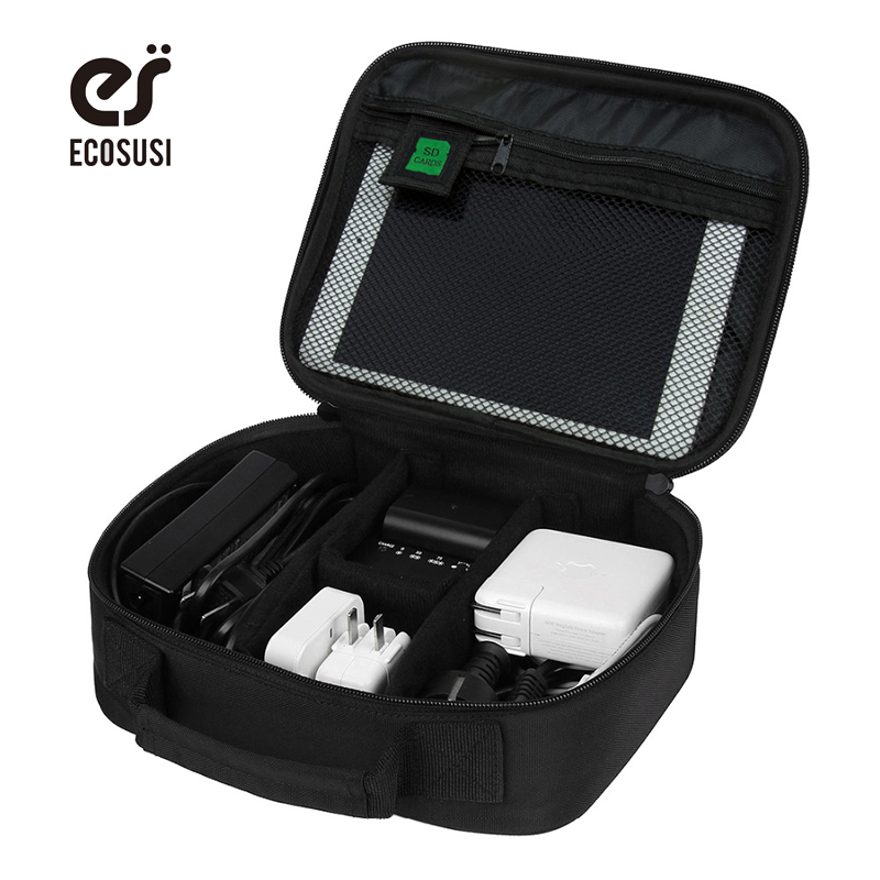 ECOSUSI Waterproof Nylon Laptop Power Bank Bag For Earphone Chager Data Cable Pouch Digital Gadget Cosmatic Bags