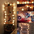 20pcs/set Thailand Style Handmade Rattan Wicker Balls String Lights Sepak TakrawFairy Party Garland Patio Decor Night lamp