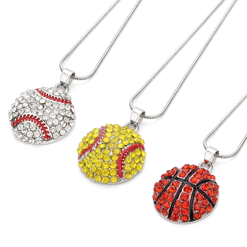 1pc/<font><b>lot</b></font> 21mm 24mm Fashion Alloy Basketball Pendnat Necklace Sport <font><b>Fun</b></font> Baseball/Softball Necklace For Lovers <font><b>Jewelry</b></font> Gift F7494 image