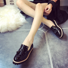 Fashion  Spring Womens Oxfords Shoes Slip On Tassel Faux Leather Oxfords for Women Casual Comfort Ladies Shoes