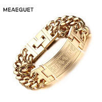 Meaeguet Gold-Color Greece Key Charm Bracelets & Bangles For Men Stainless Steel Double Layer Chain Pulseira Jewelry