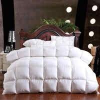 100% ganso para baixo inverno colcha edredão cobertor de enchimento algodão capa dupla única rainha ceia tamanho rei amarelo branco pino