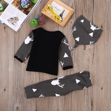 Deer Tops T-shirt+Pants + Hat 3pcs Outfits 0-24M