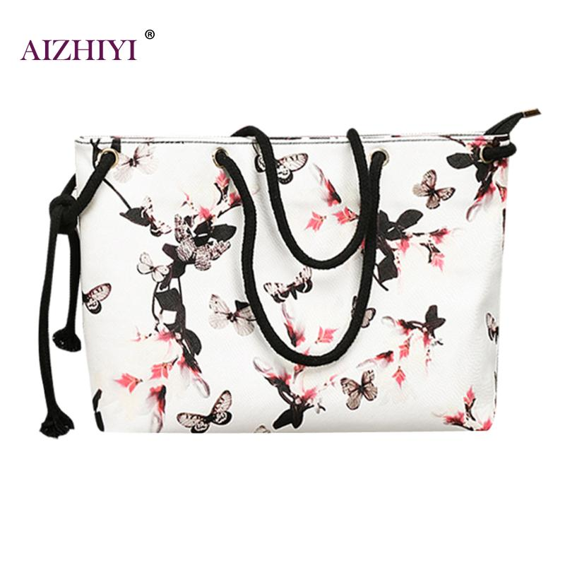 Floral Printing Shoulder Beach Bags Handbags Lady Large Capacity Tote 2018 Casual Female Tote Hobos Shopping Bag Bolsa Feminina brand designer large capacity ladies brown black beige casual tote shoulder bag handbags for women lady female bolsa feminina page 3