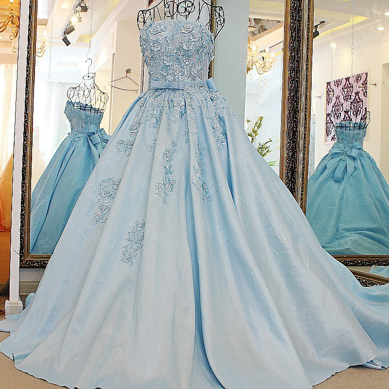 Beautiful Sky Blue Wedding Dress Strapless Court Train