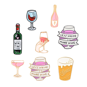 Wine Time Mini Beer Cocktail Wine glass Red Wine Bottle Cup Brooches Enamel Pin Badge Collection Gift For Women Men Party Time(China)