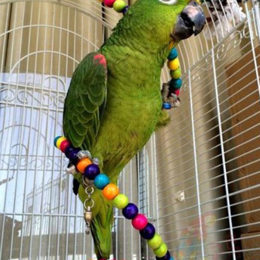 New Funny Rainbow Bead 100CM Swing Parrot Bird Ladder Wooden Pet Toy Pet Accessories in Bird Toys from Home Garden
