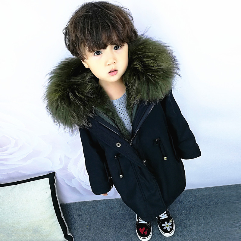 Sweet Baby Girl Boy's Real Fur Winter Parkas 2018 New Long Detachable Rabbit Fur Liner Warm Kids Hooded Coat Jacket Plus Size все цены