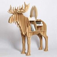 1 Set 48 Iwood Wooden Craft Home And Garden Decoration Elk Deer Side Table For Sofa