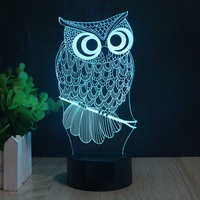 Owl 3D Illusion Lamp Elstey 7 Color Changing Touch Table Desk LED Night Light Great Kids