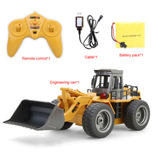 2.4G 6CH 1:18 RC Trucks Metal Bulldozer Charging RTR Remote Control Truck Construction Vehicle Cars For Kids Toys Gifts