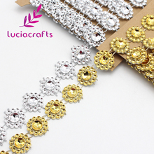 2 yardas/lote 15mm flor diamante cristal ostentoso cinta envoltura Trim DIY hogar boda pastel de fiesta decoraciones oro, plata V0803