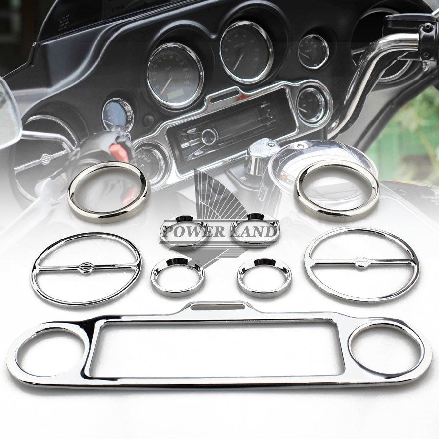 9pcs Brand New Motorcycle Chrome Stereo Accent+Speedometer+Speaker Trim Ring Set For Harley Ultra Classic 1986 Up Free Shipping
