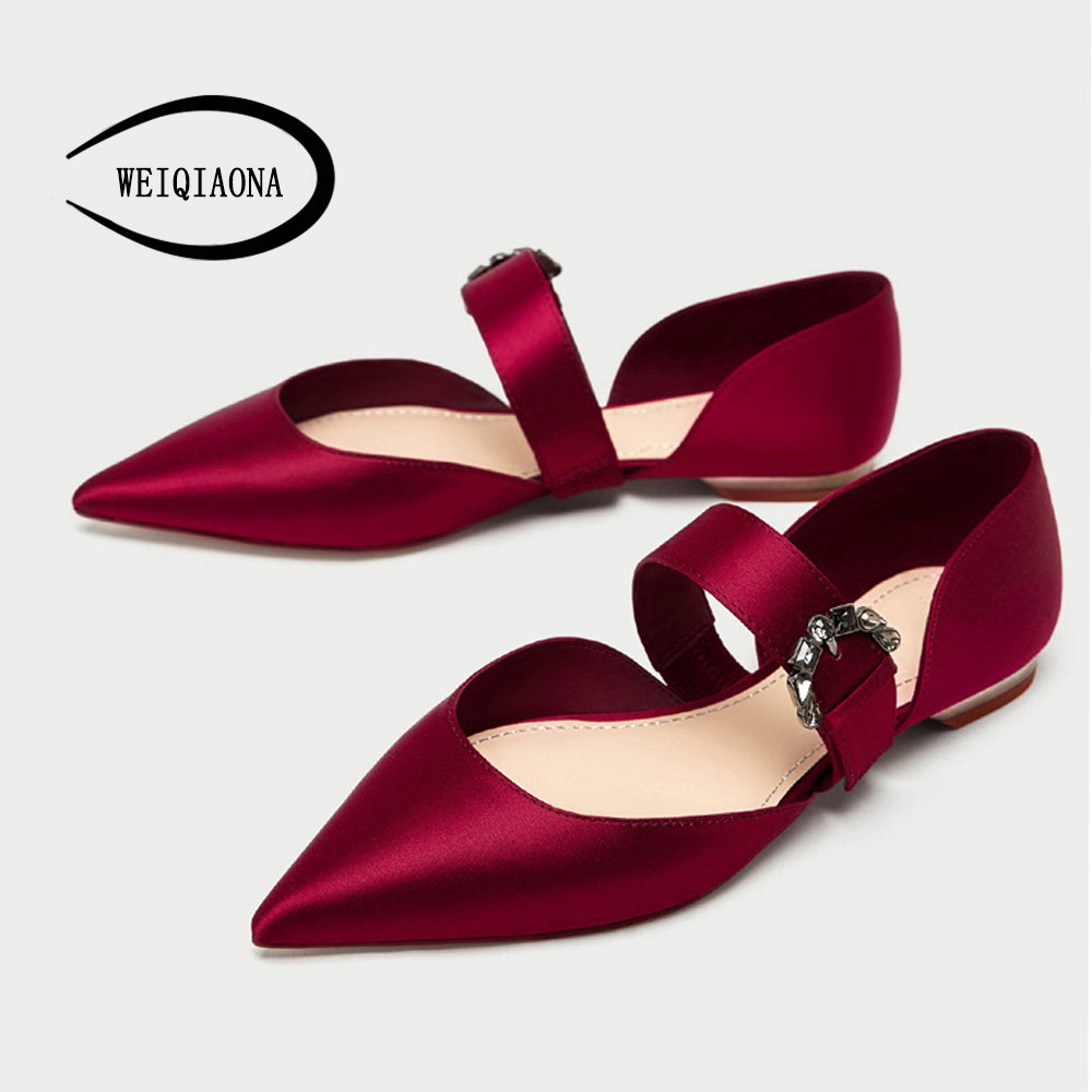 WEIQIAONA New Women Jewelry buckle ballet shoes Shallow a strap Pointed flat princess Red wedding shoes Casual Fashion shoes odetina 2017 new summer women ankle strap ballet flats buckle hollow out flat shoes pointed toe ladies comfortable casual shoes