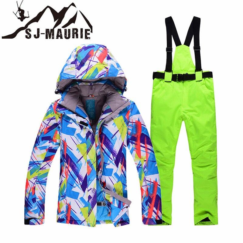 Snowboard Ski costumes veste et pantalon femmes hiver imperméable coupe-vent Ski costume ensemble extérieur randonnée femme épais manteau
