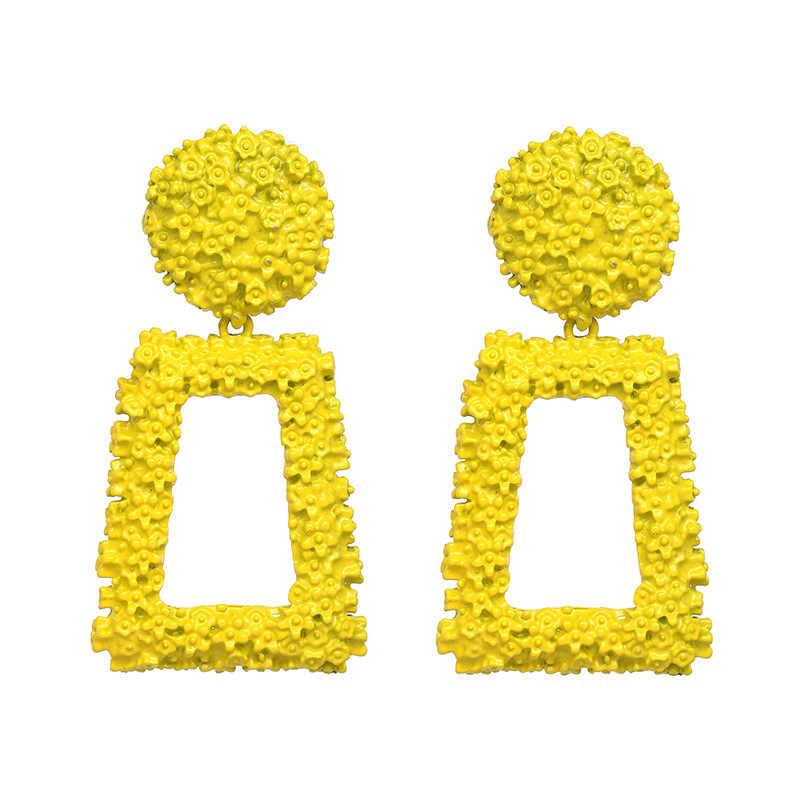 MESTILO Bohemian Fashion Indian Jewelry Geometric Big Gold Metal Drop Earrings For Women Statement Punk ZA Long Dangle Earrings